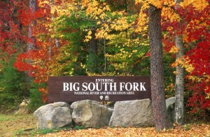 Park Entrance Sign in Fall